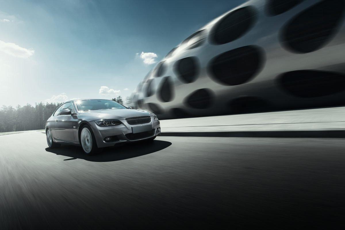 Car drive on asphalt